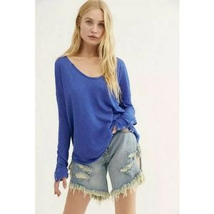 FREE PEOPLE We The Free Sienna Tee Blue︱Size S